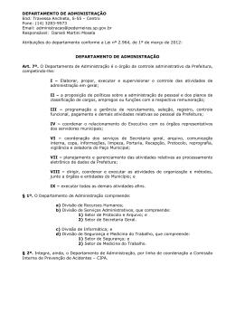DEPARTAMENTO DE ADMINISTRAÇÃO End: Travessa Anchieta, S