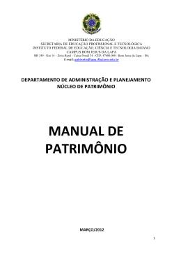 MANUAL DE PATRIMÔNIO