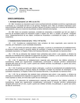 DIREITO EMPRESARIAL 1. Atividade Empresarial ( art. 966 e ss do