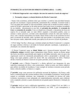 introdução ao estudo do direito empresarial