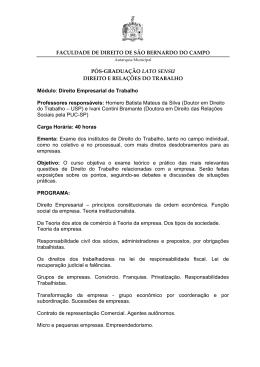 Direito Empresarial do Trabalho - Faculdade de Direito de São