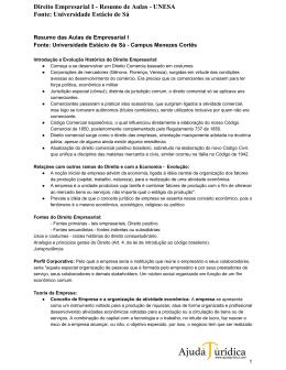Direito Empresarial I Resumo de Aulas UNESA