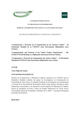 """""""Comunicación y Protocolo de la Organización de las"""