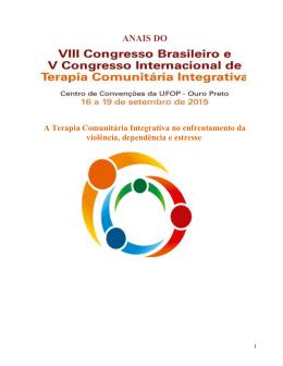 ANAIS DO - VIII CONGRESSO BRASILEIRO DE TERAPIA