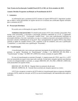 Nota Técnica da Escrituração Contábil Fiscal (ECF)