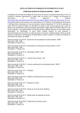 Edital de Ciência de Eliminação de Documentos nº 001/2015