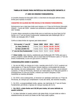 tabela de idade para matrícula na educação infantil e 1º ano do