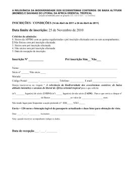 Data limite de inscrição: 25 de Novembro de 2010