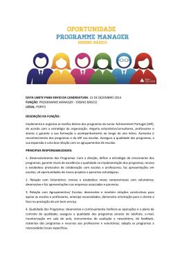 data limite para envio da candidatura: 15 de dezembro 2014 função