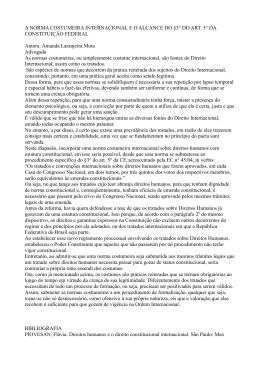 A NORMA COSTUMEIRA INTERNACIONAL E O ALCANCE