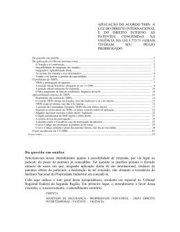 Prorrogação de patentes - Direito Internacional