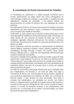A consolidação do Direito Internacional do Trabalho