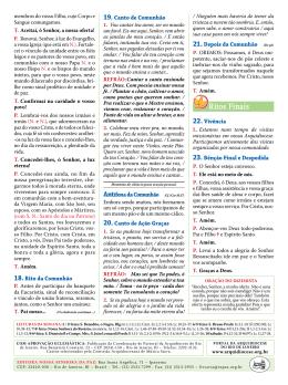 Folheto da Missa - 27º Domingo do Tempo Comum 2015