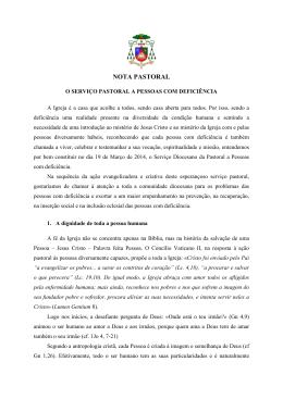 NOTA PASTORAL - Diocese Bragança