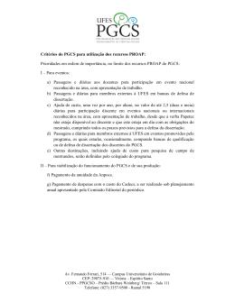Critérios do PGCS para utilização dos recursos PROAP: Prioridades