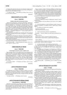 Publicação Diário da República - Junta de Freguesia de Vila do Porto