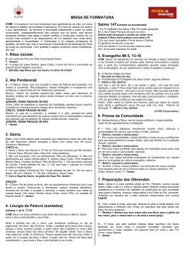 MISSA DE FORMATURA 1. Ritos iniciais 2. Ato