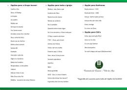Lista de Louvores para Culto de