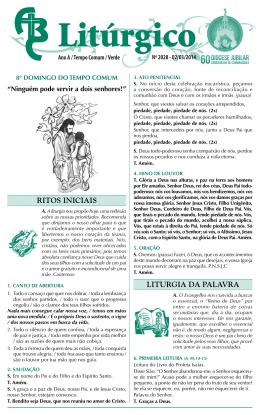 nº 2028 – 02/03/2014 – 8º domingo do tempo comum