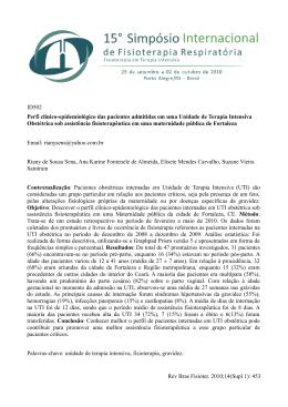Perfi clínico-epidemiológico das pacientes admitidas em