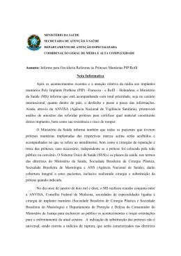 Informe para Ouvidoria Referente às Próteses Mamárias PIP/Rofil