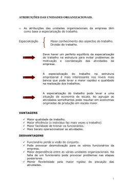 atribuições das unidades organizacionais