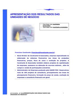 apresentação dos resultados das unidades de negócio