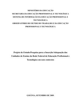 Projeto de Estudo/Pesquisa para a Inserção/Adequação das
