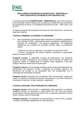 REGULAMENTO PROGRAMA DE BONIFICAÇÃO