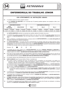 PROVA 34 - ENFERMEIRO(A) DO TRABALHO JÚNIOR