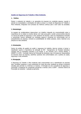 Gestão em Segurança do Trabalho e Meio Ambiente. 1. Política
