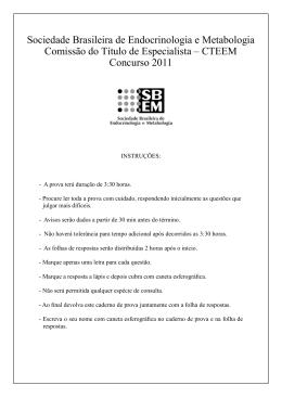 Prova do TEEM 2011 - Sociedade Brasileira de Endocrinologia e