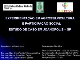 experimentação em agrossilvicultura e participação social