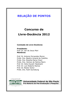 Listagem de Pontos - Livre-Docência 2012