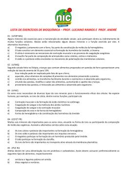 lista de exercícios de bioquímica – prof. luciano ramos e prof. andré