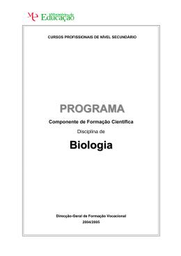 Programa de Biologia - Catálogo Nacional de Qualificações