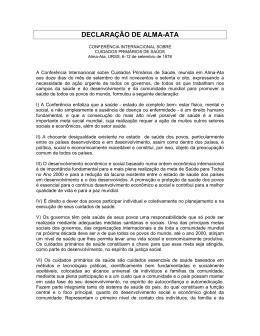 Carta 1: DECLARAÇÃO DE ALMA-ATA