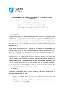 Metodologia de Apoio à Contratualização de Cuidados de Saúde
