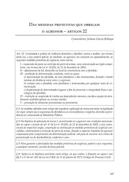 Das medidas protetivas que obrigam o agressor – artigos 22