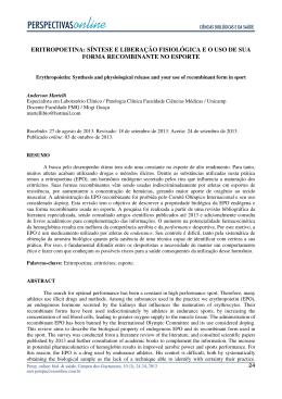 eritropoetina: síntese e liberação fisiológica e o uso de sua