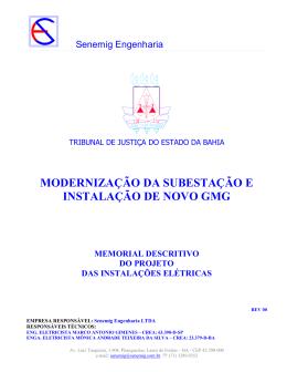 MODERNIZAÇÃO DA SUBESTAÇÃO E INSTALAÇÃO DE NOVO GMG