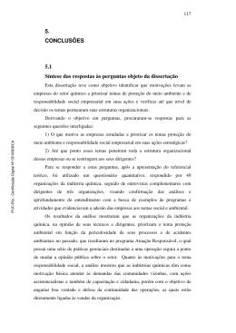 5. CONCLUSÕES 5.1 Síntese das respostas às perguntas objeto da