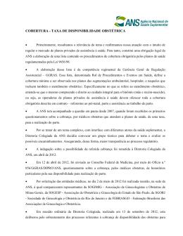 COBERTURA - TAXA DE DISPONIBILIDADE OBSTÉTRICA