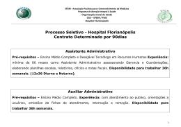 Processo Seletivo - Hospital Florianópolis Contrato