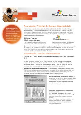 Anunciando: Proteção de Dados e Disponibilidade