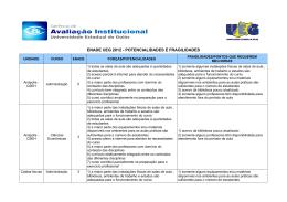ENADE UEG 2012 - POTENCIALIDADES E FRAGILIDADES