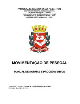 MOVIMENTAÇÃO DE PESSOAL - Prefeitura de São Paulo