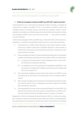 Política de Investigação - Escola Superior de Educação de Paula