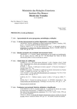 Ministério das Relações Exteriores Instituto Rio Branco