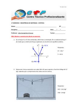 1º exercício resistência de materiais - estática- ctp - joao